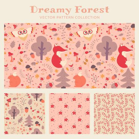 animales del bosque: patrones de costura de la niña con los animales del bosque, dibujados a mano, flores y plantas. Conjunto de los textiles de los niños lindos en colores morado, beige y blanco rosa pastel,. Colección de vector.