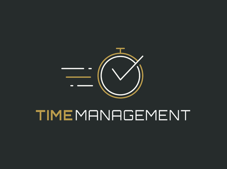 productivity system: Time management logo template. Stopwatch line icon isolated on clean background. Vector concept symbol.
