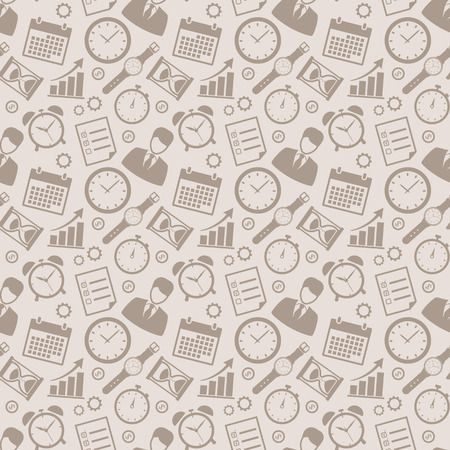 self control: Time and business seamless pattern. Concept background with silhouette icons for time management and planning themes. Vector illustration.