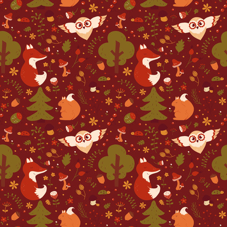 retro cartoon: Forest seamless pattern with hand drawn animals, flowers and plants. Cute nature textile in red, green, orange and beige colors. Vector background for baby design.