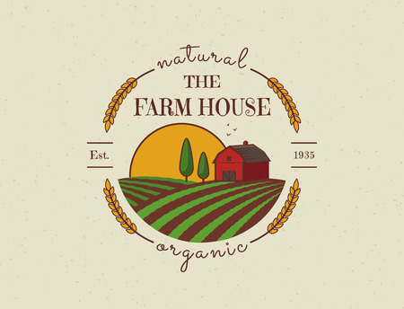 barns: Farm House concept logo. Colored template with farm landscape. Label in retro style for natural and organic products. Vector illustration.