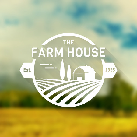 Farm House concept  template with farm landscape on blurred background. Retro label for natural farm products. Stock Illustratie