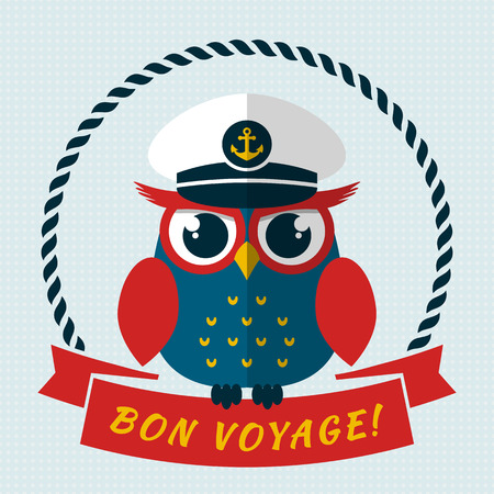 mariner: Bon voyage! Card with pretty captain owl. Vector illustration.