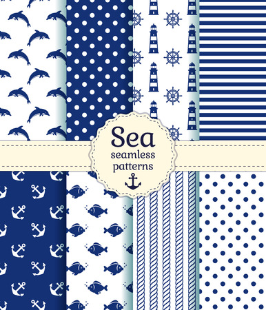 marine fish: Set of sea and nautical seamless patterns in white and dark blue colors. Vector illustration.