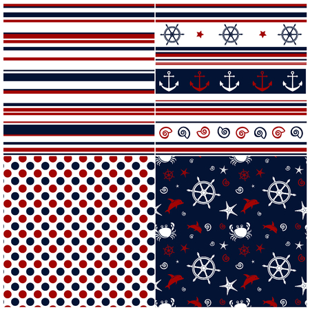 striped: Collection of marine backgrounds in dark blue, red and white colors. Vector illustration. Illustration