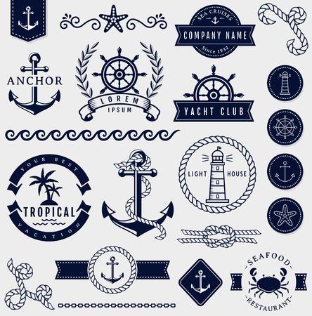 Conjunto de mar y decoraciones marinas aisladas sobre fondo blanco. Colección de elementos para logotipos de empresa, identidad del negocio, productos de impresión, la página web y la decoración o el otro diseño. Ilustración del vector. Logos