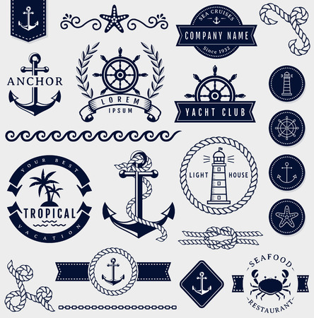 symbol tourism: Set of sea and nautical decorations isolated on white background. Collection of elements for company logos, business identity, print products, page and web decor or other design. Vector illustration.