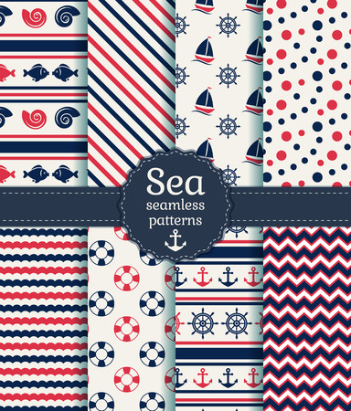 marinero: Conjunto de mar y patrones de costura náuticas en colores azul blanco, rosado y oscuro. Ilustración del vector.