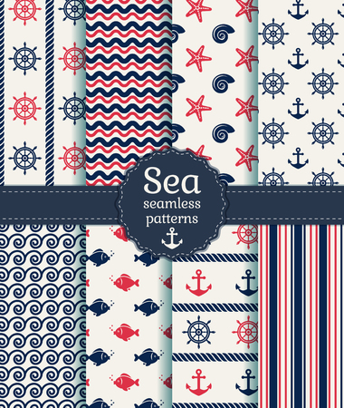nautical pattern: Set of sea and nautical seamless patterns in white, pink and dark blue colors. Vector illustration. Illustration