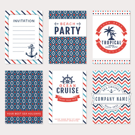 Set of nautical and marine banners. Card templates in white, blue and red colors. Sea theme. Vector collection.