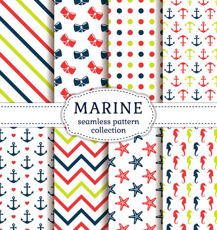 sea line: Sea and nautical backgrounds in white, red, green and blue colors. Sea theme. Seamless patterns collection. Vector set.