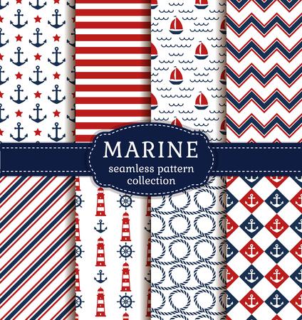 mar: Conjunto de mar y fondos náuticas en colores blanco, azul y rojo. el tema del mar. colección de patrones sin fisuras. Ilustración del vector.