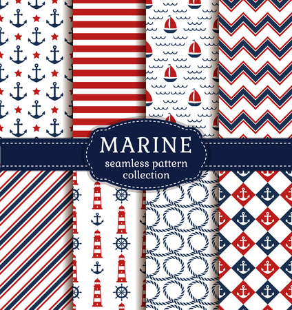 Set of sea and nautical backgrounds in white, blue and red colors. Sea theme. Seamless patterns collection. Vector illustration.
