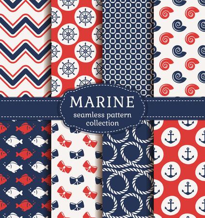 marinero: Conjunto de los fondos marinos y náuticos. el tema del mar. colección de patrones sin fisuras. Ilustración del vector.