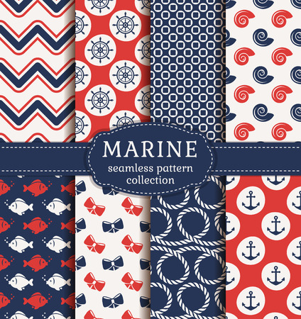 cords: Set of marine and nautical backgrounds. Sea theme. Seamless patterns collection. Vector illustration.
