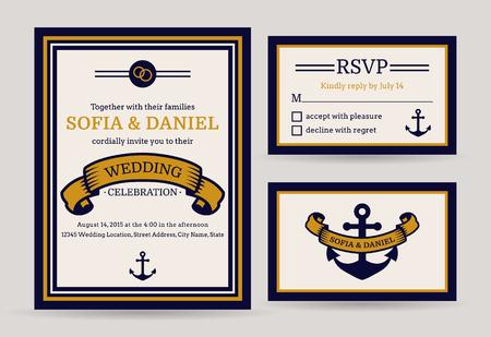 anniversario matrimonio: biglietti d'invito di nozze nautico. tema del mare. Set di modelli vettoriali.