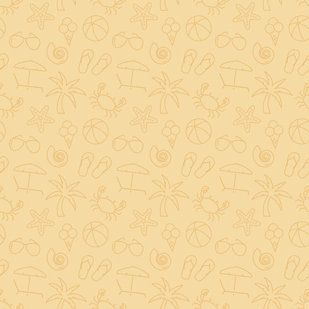 pale cream: Seamless pattern with beach symbols. Summer vacation. Delicate background in pale colors. Vector illustration. Illustration
