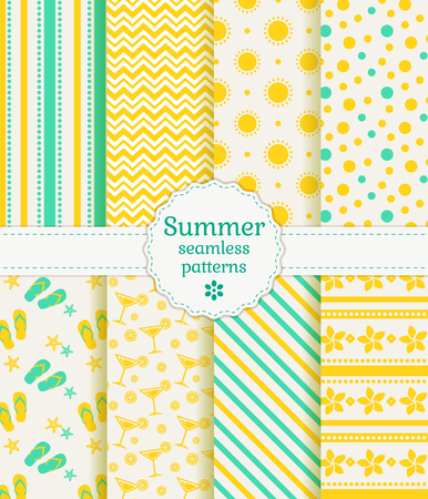 Set of summer and beach seamless patterns. Vector illustration.