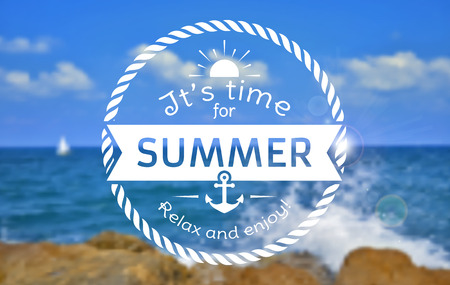 It's time for summer! Relax and enjoy! Summer card with typographic badge. Blurred sea background. Vector illustration. Çizim