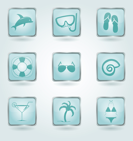 spa resort: Set of 9 square buttons with vacation and beachfront icons.