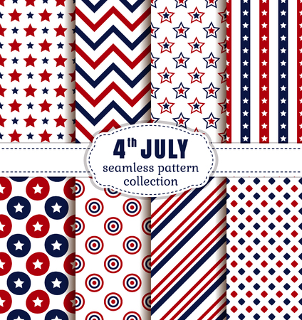 jul: �Feliz d�a de la independencia! 4 de julio. Conjunto de fondos estadounidenses. Colecci�n de patrones sin fisuras en colores rojo, azul y blanco tradicionales. Ilustraci�n del vector. Vectores