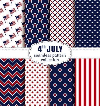 ¡Feliz día de la independencia! 4 de julio. Conjunto de fondos estadounidenses. Colección de patrones sin fisuras en colores rojo, azul y blanco tradicionales. Ilustración del vector.