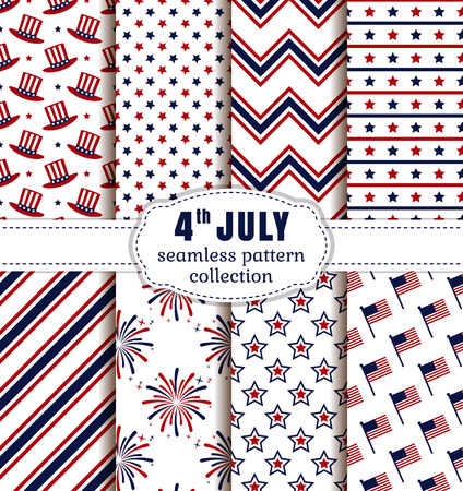 chevron seamless: Happy Independence Day! 4th of July. Set of American backgrounds. Collection of seamless patterns in traditional red, blue and white colors. Vector illustration.