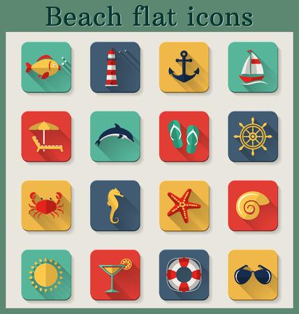 caballo bebe: Conjunto de iconos de playa y junto al mar plana con largas sombras. Ilustraci�n del vector.