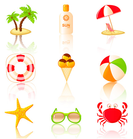 sun block: Nine colored beach icons. Collection of vector design elements.