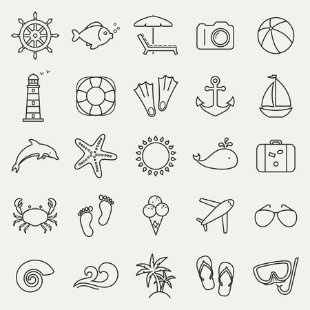 Set van vakantie, zee en strand lijn iconen. Badplaats en ontspanning strand. Het verzamelen van schetsontwerp elementen. Zwarte symbolen op een witte achtergrond. Vector illustratie. Vector Illustratie