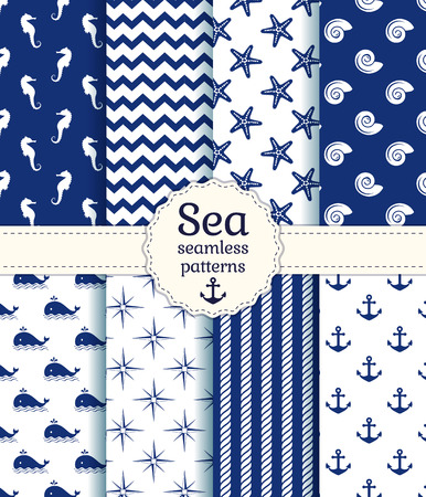 Set of sea and nautical seamless patterns in white and navy blue colors. Vector illustration.