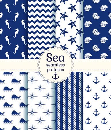 在白色和海军蓝颜色的海洋和航海无缝模式的一套。矢量图。
