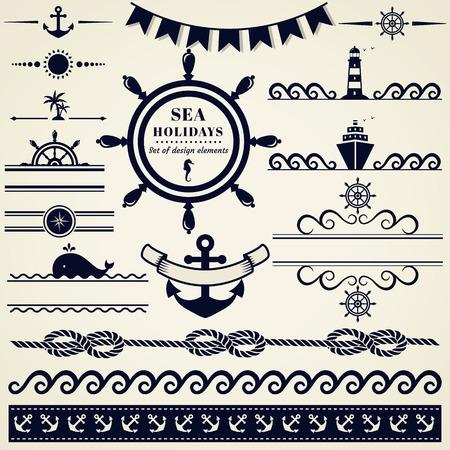 olas de mar: Colección de varios elementos náuticos para el diseño y decoración de página. Ilustración del vector.