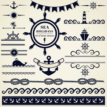 sailing ship: Collection of various nautical elements for design and page decoration. Vector illustration.
