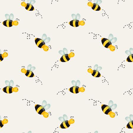 Arrière-plan avec des abeilles de bande dessinée. Vector illustration. Banque d'images - 51878130