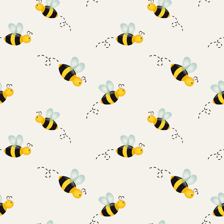 Background with cartoon bees. Vector illustration.