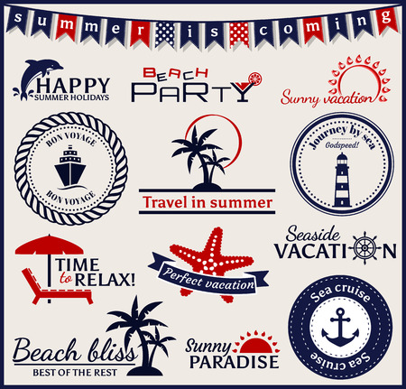 paradise beach: Set of summer and sea labels, symbols and emblems. Collection of elements for design and page decoration. Vector illustration.