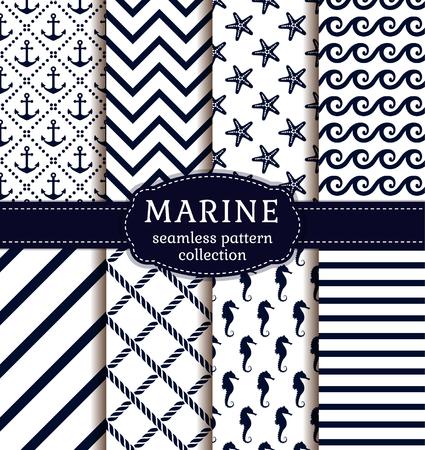 marinero: Mar y fondos náuticas en colores blanco y azul oscuro. el tema del mar. colección de patrones sin fisuras. set vector.