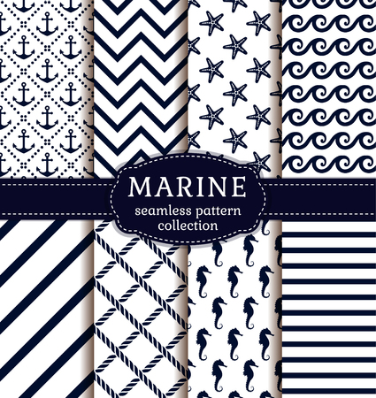on the ropes: Sea and nautical backgrounds in white and dark blue colors. Sea theme. Seamless patterns collection. Vector set.