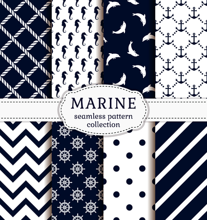 pattern is: Sea and nautical backgrounds in white and dark blue colors. Sea theme. Seamless patterns collection. Vector set.