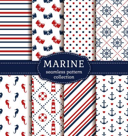 marinero: Mar y fondos náuticas en los colores blanco, azul y rojo. el tema del mar. colección de patrones sin fisuras. set vector.