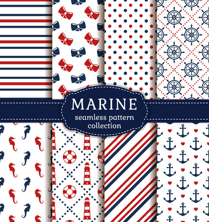 Sea and nautical backgrounds in white, blue and red colors. Sea theme. Seamless patterns collection. Vector set. Illustration