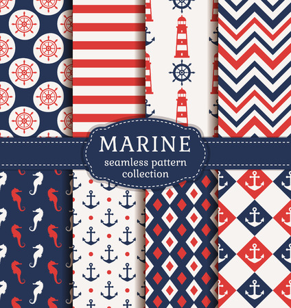 Set of marine and nautical backgrounds. Sea theme. Seamless patterns collection. Vector illustration. Фото со стока - 51878137