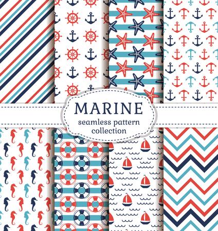 Conjunto de los fondos marinos y náuticos. el tema del mar. colección de patrones sin fisuras. Ilustración del vector.