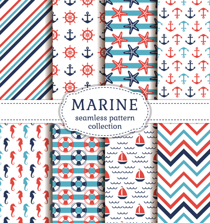 Set of marine and nautical backgrounds. Sea theme. Seamless patterns collection. Vector illustration.