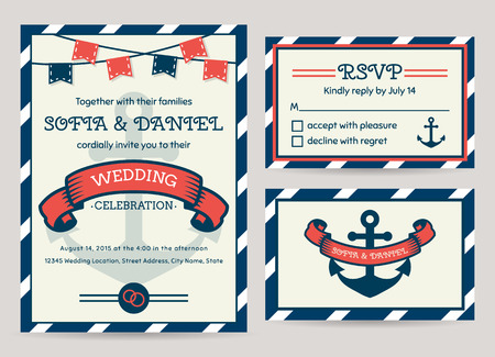 blue stripes: Nautical wedding invitation cards. Sea theme. Set of vector templates.