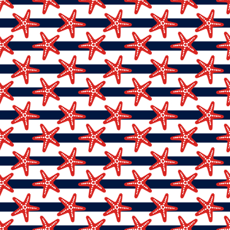 Seamless striped pattern with starfish. Sea theme. Vector background.