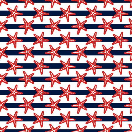 impresión: patrón de rayas transparente con estrellas de mar. el tema del mar. Fondo del vector.