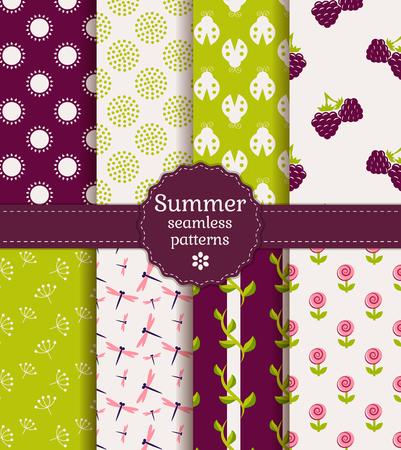 patterns vector: Set of summer seamless patterns. Vector illustration.