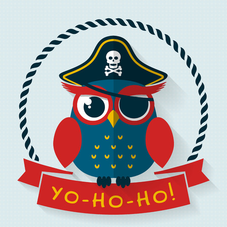 party hat: Yo-ho-ho! Card with funny pirate owl. Flat style with long shadow. Vector illustration.